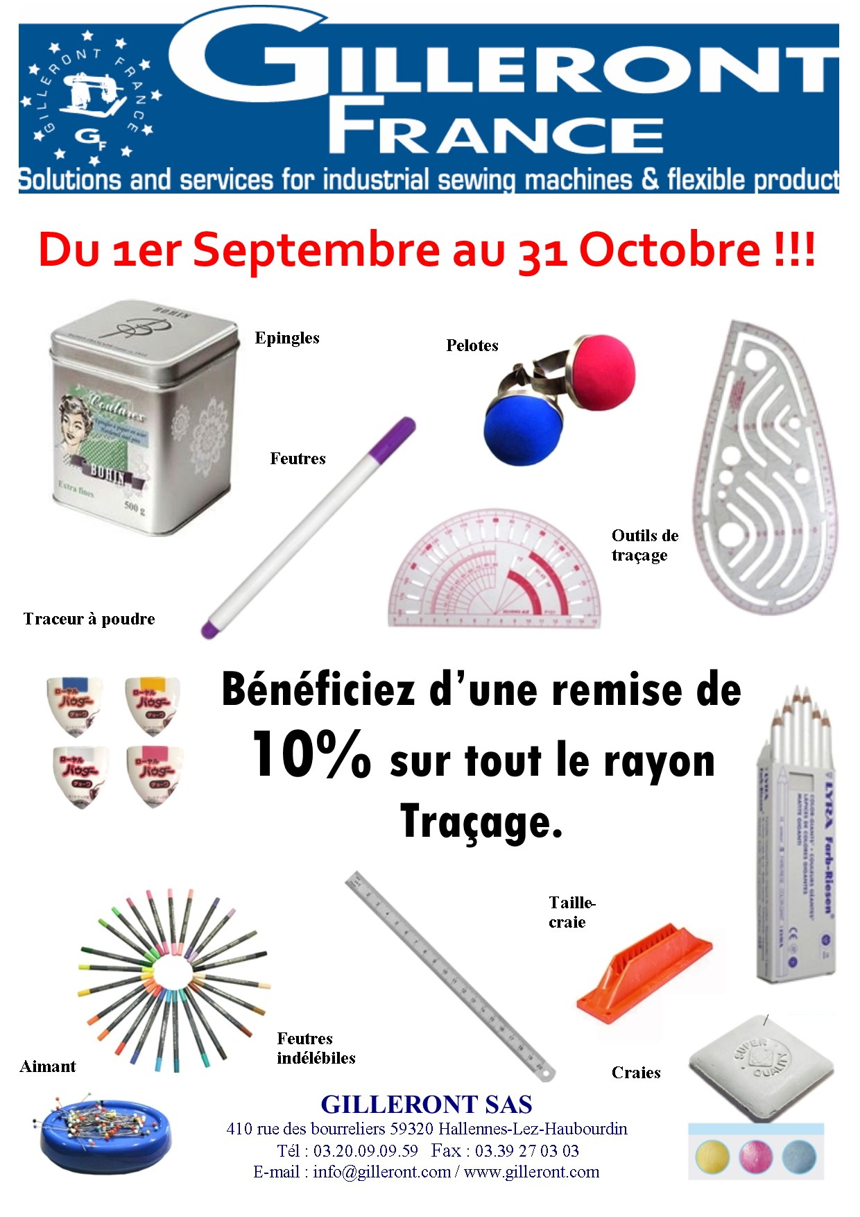PROMOTION TRACAGE SEPTEMBRE OCTOBRE 2018
